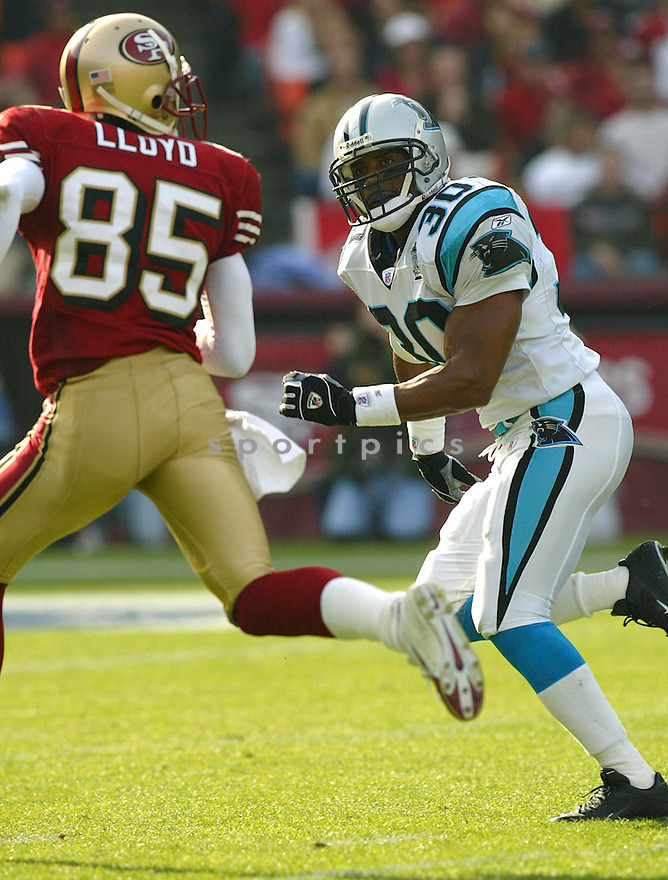 Mike Minter during the Corloina Panthers v. San Francisco 49ers game on November 14, 2004...Panthers win 37-27..Rob Holt / SportPics
