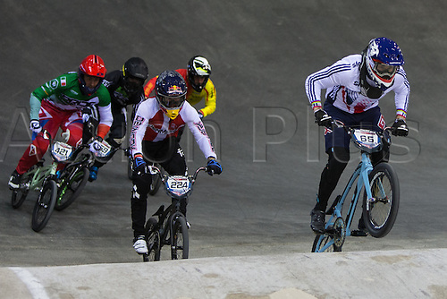 09.04.2016. National Cycling Centre, Manchester, England. UCI BMX Supercross World Cup day 1. Liam Phillips leads from Chris Christensen.