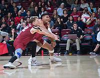 STANFORD, CA - March 2, 2019: Jordan Ewert, Jaylen Jasper at Maples Pavilion. The Stanford Cardinal defeated BYU 25-20, 25-20, 22-25, 25-21.