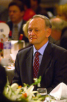 may 14, 2003, Montreal, Quebec, Canada.<br /> <br /> Jean Chretien, Prime Minister of Canada and  Leader of Canada Liberal Party at the annual Liberal party benefit dinner in Montreal, for the last time as Prime Minister,  May 14, 2003.<br /> <br /> Chretien will step downas leader of the party and as Prime Minister in January 2004 and is most likely to be replaced by former Minister and Finances Paul Martin.<br /> <br /> Mandatory Credit: Photo by Pierre Roussel- Images Distribution. (©) Copyright 2003 by Pierre Roussel