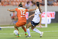 Houston, TX - Thursday Aug. 18, 2016: Amber Brooks, Cali Farquharson during a regular season National Women's Soccer League (NWSL) match between the Houston Dash and the Washington Spirit at BBVA Compass Stadium.
