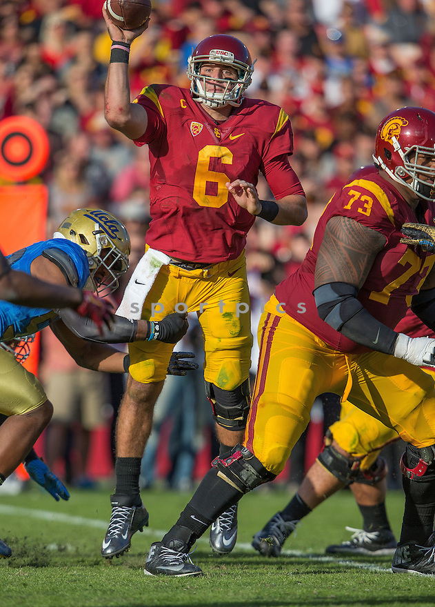 USC Trojans Cody Kessler (6) during a game against the UCLA Bruins on November 28, 2015 at the Coliseum in Los Angeles, CA. USC beat UCLA 40-21.