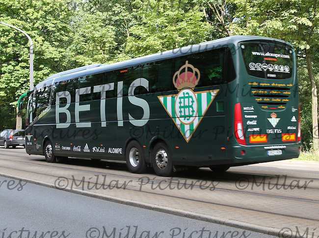 Real Betis team coach arriving for the Werder Bremen v Real Betis match in the Bundeswehr Karriere Cup Dresden 2016 played at the DDV Stadion, Dresden on 29.7.16.