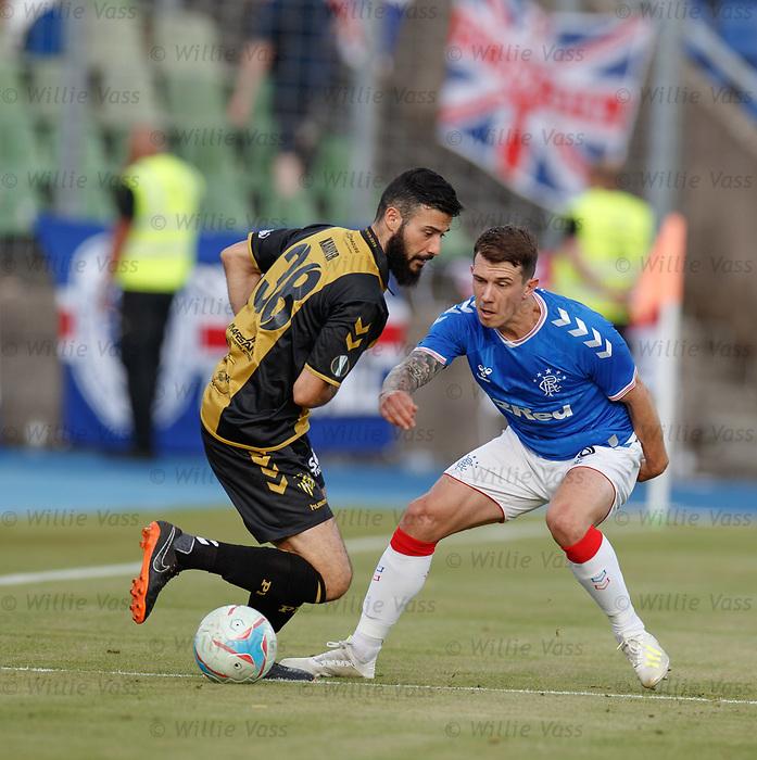 01.08.2019 Progres Niederkorn v Rangers: Metin Karayer and Ryan Jack