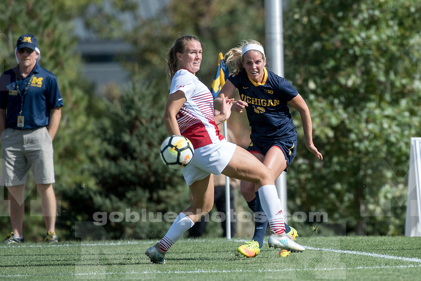 The University of Michigan women's soccer team draws with Nebraska, 1-1 (2OT) at the UM Soccer Complex in Ann Arbor, MI on October 1, 2017.