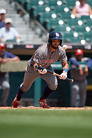 Lehigh Valley IronPigs Ali Castillo (3) lays down a sac bunt during an International League game against the Buffalo Bisons on June 9, 2019 at Sahlen Field in Buffalo, New York.  Lehigh Valley defeated Buffalo 7-6 in 11 innings.  (Mike Janes/Four Seam Images)