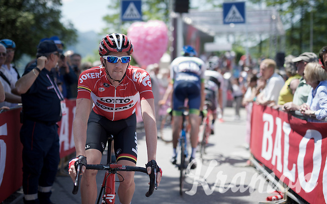 Jurgen Van den Broeck (BEL/Lotto-Soudal) at the start<br /> <br /> Giro d'Italia 2015<br /> stage 18: Melide (SUI) - Verbania (170km)