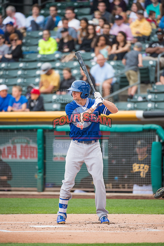 Buck Britton (4) of the Oklahoma City Dodgers at bat against the Salt Lake Bees in Pacific Coast League action at Smith's Ballpark on May 25, 2015 in Salt Lake City, Utah.  (Stephen Smith/Four Seam Images)