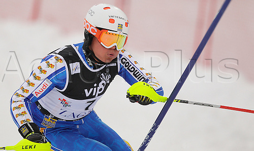 Ninth after first run Mattias Hargin of Sweden skiing in first run of men Snow queen trophy slalom World Cup race in Zagreb, Croatia. Slalom race of Men Audi FIS Alpine skiing World Cup 2009-10 was held on Sljeme above Zagreb, Croatia, on 6th of January 2010..Obligatory credit: Primoz Jeroncic / PhotoSI/Actionplus - Editorial Use Not Sweden or Finland