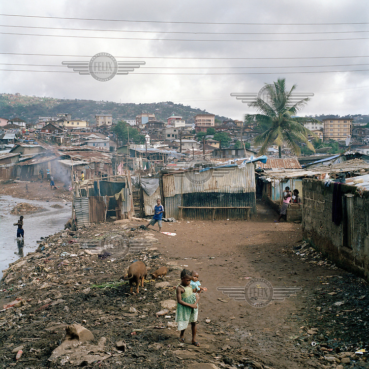 a young girl holding a baby stands beside a pig in the middle of Kroo Bay with boys playing in the background. Kroo Bay, a slum built on a rubbish dump on the eastern outskirts of the capital Freetown, houses around 6,500 people. The rubbish that is washed down the hill from the city toward Kroo Bay is compacted in the bay to the extent that houses can be built on the surface, thus reclaiming land from the sea. .