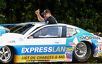 Aug. 18, 2013; Brainerd, MN, USA: NHRA pro stock driver Allen Johnson during the Lucas Oil Nationals at Brainerd International Raceway. Mandatory Credit: Mark J. Rebilas-