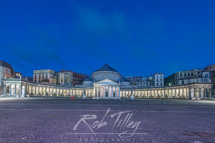 Europe, Italy, Naples, Piazza del Plebscito at Dawn