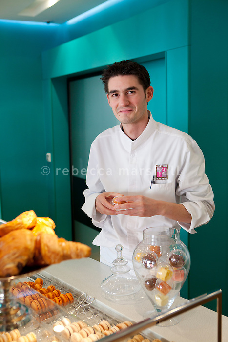 Jérôme De Oliveira, world champion pastry chef, poses for the photographer in 'Intuitions', the patisserie and salon de thé of the Five Hotel & Spa, Cannes, France, 5 April 2013