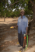 Cashew Nut Farmer with Yellow Cashew Apples, near Sokone, Senegal.  The farmer is of the Jola (French: Diola) ethnic group.