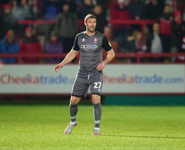 Lincoln City's Jamie McCombe <br /> <br /> Photographer Andrew Vaughan/CameraSport<br /> <br /> The EFL Checkatrade Trophy Second Round - Accrington Stanley v Lincoln City - Crown Ground - Accrington<br />  <br /> World Copyright © 2018 CameraSport. All rights reserved. 43 Linden Ave. Countesthorpe. Leicester. England. LE8 5PG - Tel: +44 (0) 116 277 4147 - admin@camerasport.com - www.camerasport.com