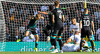 Swansea City's George Byers jumps out of the way of Wayne Routledge's shot, which won the game <br /> <br /> Photographer Alex Dodd/CameraSport<br /> <br /> The EFL Sky Bet Championship - Leeds United v Swansea City - Saturday 31st August 2019 - Elland Road - Leeds<br /> <br /> World Copyright © 2019 CameraSport. All rights reserved. 43 Linden Ave. Countesthorpe. Leicester. England. LE8 5PG - Tel: +44 (0) 116 277 4147 - admin@camerasport.com - www.camerasport.com