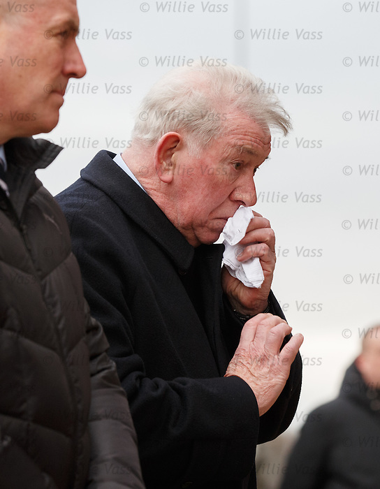 An emotional John Greig at the memorial service to the victims of the Ibrox disaster of 1971 breaks down as the names of the dead are read out