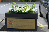 Summer flower display to celebrate the Golden Wedding Anniversary of Queen Elizabeth II & Prince Philip, Duke of Edinburgh, in Farnham, Surrey.