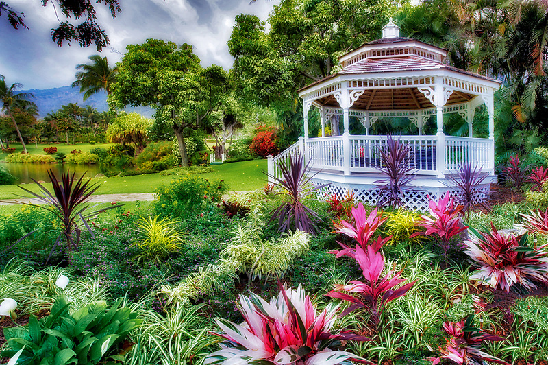 Gardens with gazebo at Maui Tropical Plantation. Maui. Hawaii