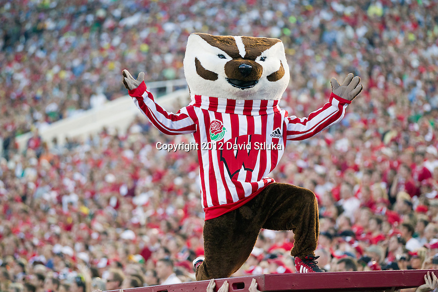 Wisconsin Badgers mascot Bucky Badger celebrates a touchdown during the 2012 Rose Bowl NCAA football game against the Oregon Ducks in Pasadena, California on January 2, 2012. The Ducks won 45-38. (Photo by David Stluka)
