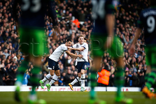 28.02.2016. White Hart Lane, London, England. Barclays Premier League. Tottenham Hotspur versus Swansea City. 28.02.2016. White Hart Lane, London, England. Barclays Premier League. Tottenham Hotspur versus Swansea City. Nacer Chadli of Tottenham Hotspur celebrates his goal with Harry Kane of during the Barclays Premier League match between Tottenham Hotspur and Swansea City.