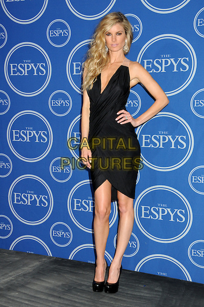 MARISA MILLER .18th Annual ESPY Awards - Press Room held at Nokia Theatre L.A. Live, Los Angeles, California, USA, .14th July 2010..espys full length ruched dress hand on hip shoes black platform heels v-neck .CAP/ADM/BP.©Byron Purvis/AdMedia/Capital Pictures.