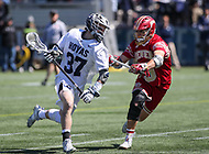 Washington, DC - March 31, 2018: Georgetown Hoyas Massimo Bucci (37) tries to get pass Denver Pioneers Danny Logan (19) during game between Denver and Georgetown at  Cooper Field in Washington, DC.   (Photo by Elliott Brown/Media Images International)