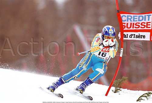 PERNILLA WIBERG (SWE), Women's Super-Giant Slalom, World Cup Skiing, Val D'Isere 001206 Photo:Neil Tingle/Action Plus...Credit Suisse.2000.winter sport.winter sports.wintersport.wintersports.alpine.ski.skier.woman.womens.women