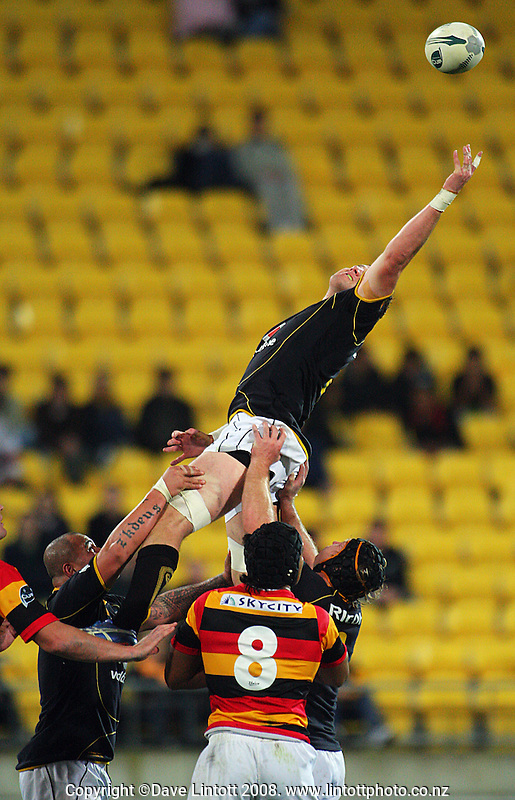 Jeremy Thrush has lineout ball just escape his fingertips during the Air NZ Cup rugby match between the Wellington Lions and Waikato at Westpac Stadium, Wellington, New Zealand on Saturday, 13 September 2008. Photo: Dave Lintott / lintottphoto.co.nz