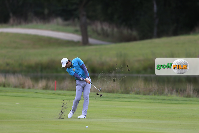 Adrian Otaegui (ESP) on the 18th during the 1st round at the Porsche European Open, Green Eagles Golf Club, Luhdorf, Winsen, Germany. 05/09/2019.<br /> Picture Fran Caffrey / Golffile.ie<br /> <br /> All photo usage must carry mandatory copyright credit (© Golffile | Fran Caffrey)