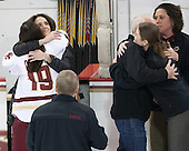 Danielle Doherty (BC - 19), Patricia Doherty, Thomas Doherty, Katie King Crowley (BC - Head Coach), Courtney Kennedy (BC - Associate Head Coach) -  The Boston College Eagles defeated the visiting Boston University Terriers 5-0 on BC's senior night on Thursday, February 19, 2015, at Kelley Rink in Conte Forum in Chestnut Hill, Massachusetts.