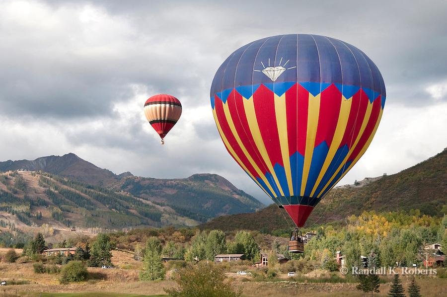 Hot air balloons soar at the Snowmass Balloon Festival, Snowmass, Colorado 2009