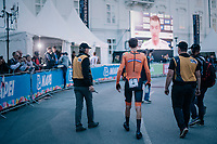 Defending champion Tom Dumoulin (NED/Sunweb) walking back to the podium area minutes after he lost his championship title to Rohan Dennis (on the big screen in front of him)<br /> <br /> fiishing and realises he lost his rainbow jersey to Dennis<br /> <br /> MEN ELITE INDIVIDUAL TIME TRIAL<br /> Hall-Wattens to Innsbruck: 52.5 km<br /> <br /> UCI 2018 Road World Championships<br /> Innsbruck - Tirol / Austria