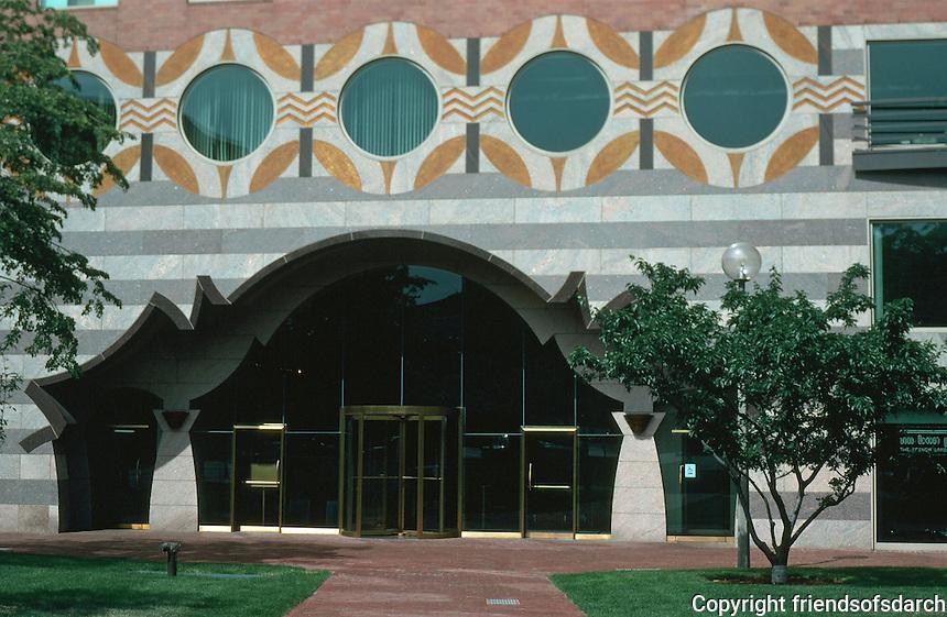 Boston:  One Bowdoin Square--entrance.  Graham Gund, Architect. Post-Modern.  Phoro '91.