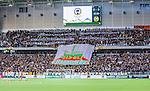 ***BETALBILD***  <br /> Stockholm 2015-09-27 Fotboll Allsvenskan Hammarby IF - AIK :  <br /> AIK:s supportrar med banderoller och overheadflagga med texten &quot;Tivoli Hammarby&quot; under matchen mellan Hammarby IF och AIK <br /> (Foto: Kenta J&ouml;nsson) Nyckelord:  Fotboll Allsvenskan Tele2 Arena Hammarby HIF Bajen AIK Derby supporter fans publik supporters