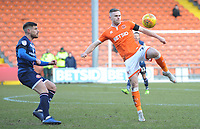 Blackpool's Oliver Turton under pressure from Walsall's Joe Edwards<br /> <br /> Photographer Kevin Barnes/CameraSport<br /> <br /> The EFL Sky Bet League One - Blackpool v Walsall - Saturday 9th February 2019 - Bloomfield Road - Blackpool<br /> <br /> World Copyright © 2019 CameraSport. All rights reserved. 43 Linden Ave. Countesthorpe. Leicester. England. LE8 5PG - Tel: +44 (0) 116 277 4147 - admin@camerasport.com - www.camerasport.com