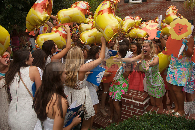 Alpha Delta Pi members welcome new members during Bid Day 2014 at the University of Kentucky in Lexington, Ky.,on Friday, August 22, 2014. Photo by Michael Reaves | Staff
