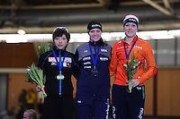 SPEEDSKATING: BERLIN: Sportforum Berlin, 27-01-2017, ISU World Cup, Podium 1000m Ladies A Division, Nao Kodaira (JPN), Heather Bergsma (USA), Jorien ter Mors (NED), ©photo Martin de Jong