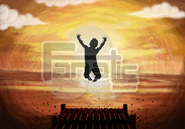 Illustration of teenage boy diving in lake at sunset