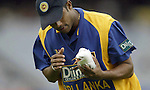 Sri Lankan cricketer Fernando removes a seagull that was hit by the ball during a match against Australia in Melbourne. The seagull leter died.