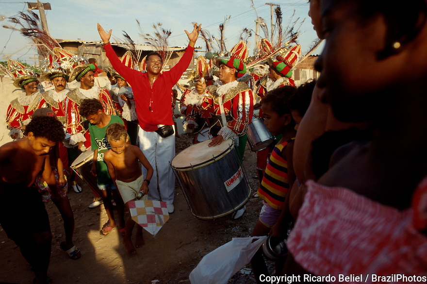 Rio de Janeiro Carnival, percussion instruments players on preparation for the Samba Schools Parade, Brazil.