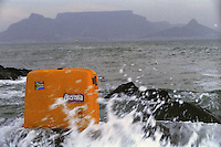 My Roncato suitcase on the beach across the bay from Table Mountain in Cape Town, South Africa - 1996.