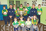 FOOTBALLS: Ten childrens from Currow NS who won 10 signed football by Seasmus Scannell and Michea?l Quirke on Thuresady with their principal. Front l-r: Danielle Flynn, Donnacha McSweeney, Caitti?n Bird and Fay Conway. Back l-r: Robbie Carroll, Micheal Quirke, Neill Dennmehy, Cian Dennehy, Margaret Hanifin(principal),Oisi?n Fleming,Sea?n O Day, Seamus Scannell and Brian O'Sullivan...