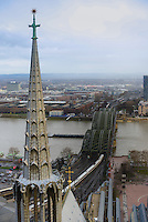 Cologne panorama and Hohenzollern bridge, Germany
