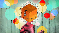 Woman with head inside locked box surrounded by barbed wire and balloons