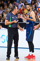 Spain's basketball player Juan Carlos Navarro talking with the referee during the  match of the preparation for the Rio Olympic Game at Madrid Arena. July 23, 2016. (ALTERPHOTOS/BorjaB.Hojas) /NORTEPHOTO.COM