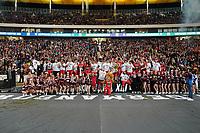 Siegesjubel Braunschweig Lions nach dem 10:7 über Schwäbisch Hall und dem Sieg im German Bowl XLI - 12.10.2019: German Bowl XLI Braunschweig Lions vs. Schwäbisch Hall Unicorns, Commerzbank Arena Frankfurt