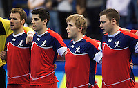 08 JAN 2012 - LONDON, GBR - Great Britain's Ciaran Williams (left), Sebastian Prieto (second from the left), Aden Woodall (second from right) and Chris Mohr (right) sing the British national anthem before the men's 2013 World Handball Championships qualification match against Austria at the the National Sports Centre in Crystal Palace, Great Britain (PHOTO (C) 2012 NIGEL FARROW)