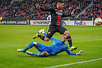 29.11.2018, BayArena, Leverkusen, Europaleque, Vorrunde, GER, UEFA EL, Bayer 04 Leverkusen (GER) vs. Ludogorez Rasgrad (BUL),<br />  <br /> DFL regulations prohibit any use of photographs as image sequences and/or quasi-video<br /> <br /> im Bild / picture shows: <br /> Isaac Kiese Thelin (Leverkusen #11), im Zweikampf gegen  Torwart Renan (Ludogorez Rasgrad #33), <br /> <br /> Foto &copy; nordphoto / Meuter<br /> <br /> <br /> <br /> Foto &copy; nordphoto / Meuter