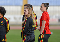 20180305 - LARNACA , CYPRUS :  Belgian Elena Dhont and Nicky Evrard (right) pictured during a women's soccer game between  the Belgian Red Flames  and Austria , on Monday 5 March 2018 at the GSZ Stadium in Larnaca , Cyprus . This is the third game in group B for Belgium during the Cyprus Womens Cup , a prestigious women soccer tournament as a preparation on the World Cup 2019 qualification duels. PHOTO SPORTPIX.BE | DAVID CATRY